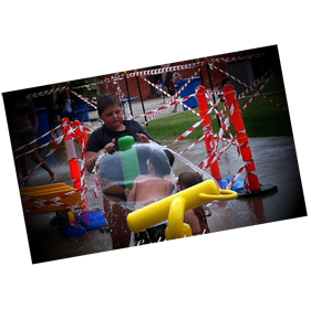 puzzle house patients having an outdoor water park activity